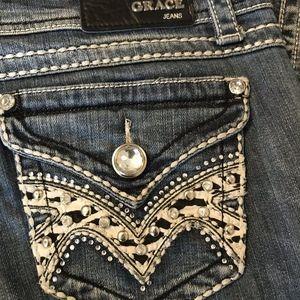 Grace Jeans - Grace In LA Jeans Western Style Rhine Stone Pocket